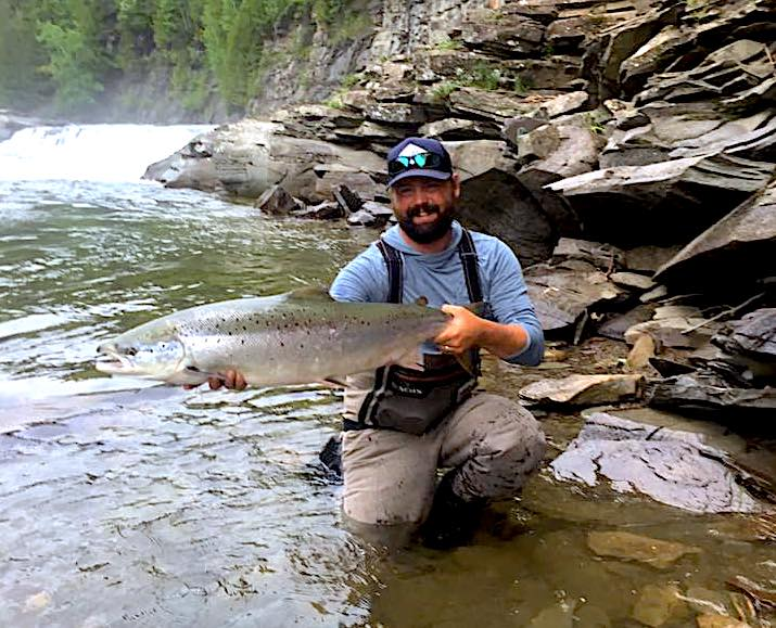 Angler showing off a dry fly caught Atlantic Salmon from the York River