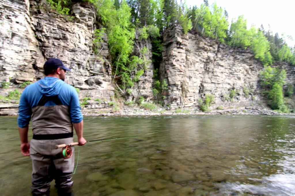 Spey angler fishing Dog Run on the York River