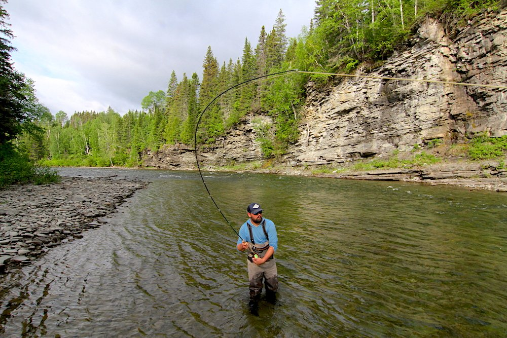 Spey angler hooked up with Atlantic Salmon on the York River